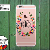 Monogram Flower Wreath Watercolor Floral Initials Custom Clear Case iPhone 5/5s and 5c iPhone 6 and 6 Plus iPhone 6s iPhone SE and iPhone 7