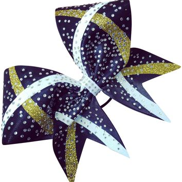 Mystique bow with 2 color glitter designs and rhinestones
