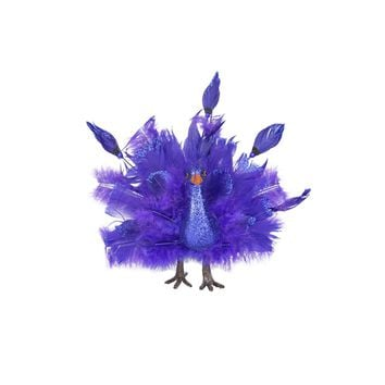 "7"" Colorful Purple and Blue Regal Peacock Bird with Open Tail Feathers Christmas Decoration"
