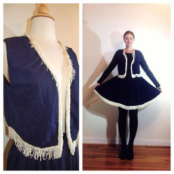 Country Western Costume Fringed Swing Skirt and Vest Navy Blue Handmade Cowgirl Farmgirl size Small