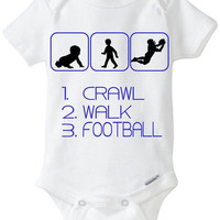 Crawl Walk Football - New Baby Gift: Gerber Onesuit brand bodysuit - for a new mom or dad who loves to watch or play American Football!