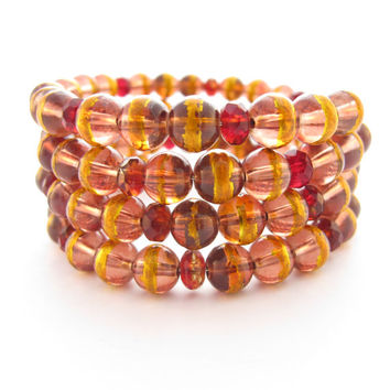 Memory Wire Wrap Bracelet - Red with Gold Foil Stripes