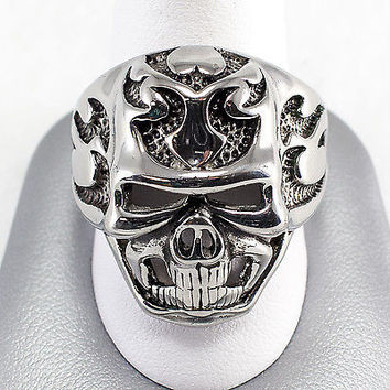 Estate Stainless Steel Skull Ring Biker Jewelry Size 13