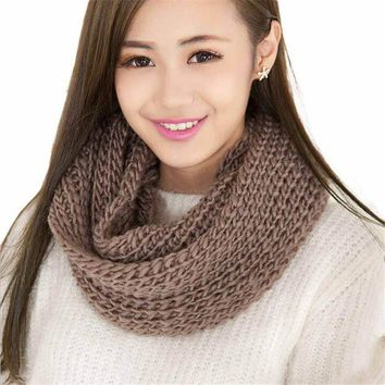 LMFU3C Fashion 2 Circle Cable Knit Scarf Women Winter Warm Scarves Infinity Cowl Neck Ring Solid Long Scarf Shawl for Women Ladies