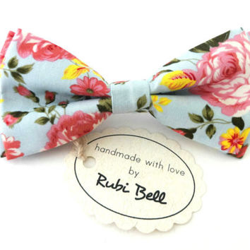 Light blue floral bow tie, wedding tie, tie with pink flowers print, light blue bow tie, light blue pocket square