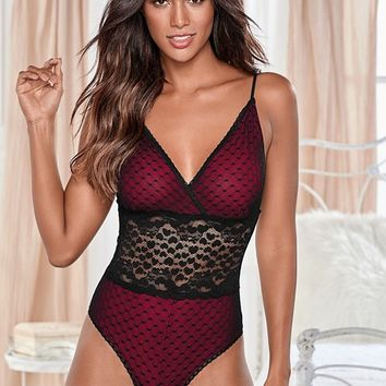 Red & Black Heart Lace Teddy from VENUS