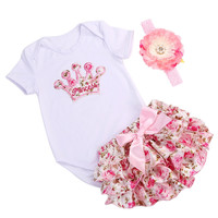 Crown infant baby girl clothing set bodysuit short summer;tiara brand newborn baby girl clothes set bebe costume first birthday