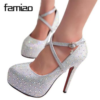 women high heels prom wedding shoes lady crystal platforms silver Glitter rhinestone b