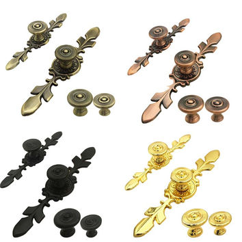 Antique Copper Cabinet Knobs Handles Retro Furniture Knobs Kitchen Drawer Cupboard Pull Handles Furniture Fittings