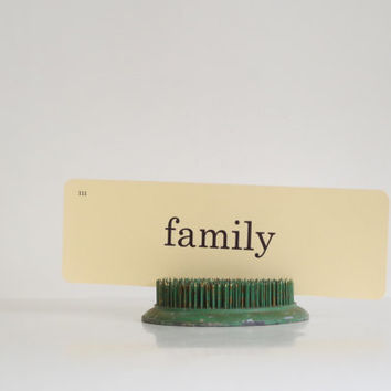 family flashcard // vintage flashcard // vintage paper ephemera // word flashcards // rustic decor // family sign