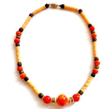 Vintage Boho Surfer Necklace - Art Glass Plastic Heshi Bead - Wood Brass Shell - Red Yellow Orange - Hippie Choker - Lamp Work 1970s