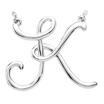 14k White Gold, Olivia Collection, Medium Script Initial K Necklace