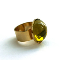 Chartreuse Green Ring Large Round Czech Glass Cabochon 24K Gold Plated Adjustable Wide Band