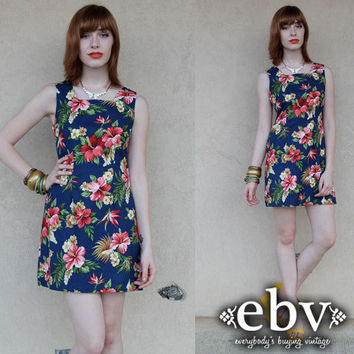 Vintage 90s Navy Hawaiian Floral Mini Sun Dress S M