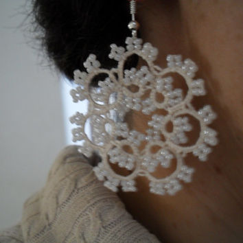 Tatted Lace Earrings - Elegant Bride