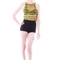 90s Vintage City Print Sheer Mesh Tank Top Yellow Lime Green Black Graphic All Over Print Novelty Club Kid Raver Size Small