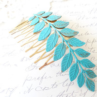 Verdigris Leaf Branch Hair Comb - Woodland Collection - Whimsical - Nature - Bridal - Patina