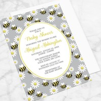Bee Daisy Baby Shower Invitations - Cute Yellow Happy Bee And White Daisy Pattern Over Gray - Bee Shower Invites - Printed Bee Invitations