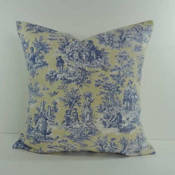Decorative Toile Pillow Cover, Rustic Forest Lake, Yellow and Blue , 18 x 18