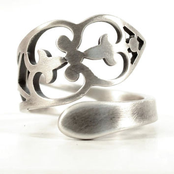 Unique Promise Ring, Sterling Silver Spoon Ring, Pierced Metal, Florentine, Wrap Ring, Handmade Ring Gift For Her, Adjustable Ring Size 5728