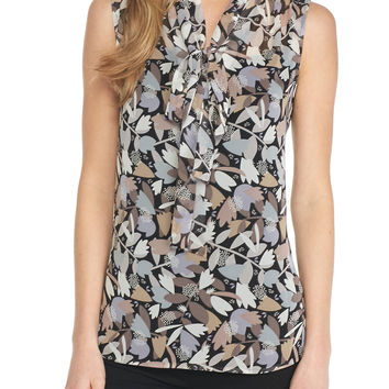 Anne Klein Printed Front Tie Sleeveless Blouse