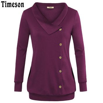 Turn Down Collar Tunic Tops Buttons Casual Knitted T Shirt Women 2017 Autumn Winter Warm Long Sleeve Tee Shirt Femme