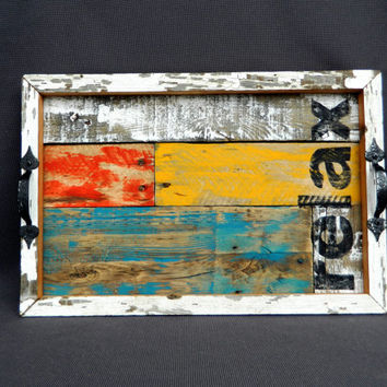 "Shabby Chic Hand painted Serving Tray, Teal, orange, yellow, Boxed in with reclaimed peeling paint barn wood, Summer porch, Rustic ""relax"""