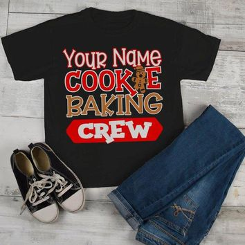 Kids Personalized Christmas T Shirt Cookie Baking Crew Matching Xmas Outfit Custom Graphic Tee Toddler Boy's Girl's
