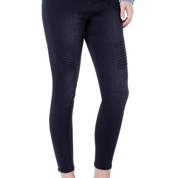 Liverpool Chloe Seamed Moto Pull-On Leggings with Back Zipper