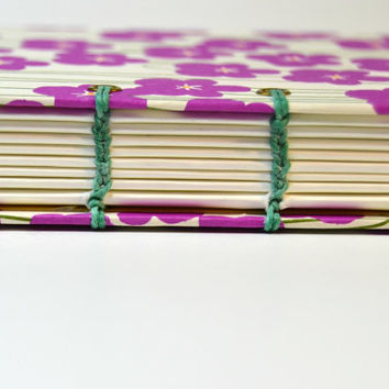 Pocket Planner, Bullet Journal Notebook, Coptic Stitch, Pocket Size, Mohawk Superfine Paper, Sketchbook, Torn Edge Note Book, Purple Flowers