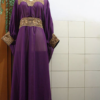 Elegant Purple Chiffon Moroccan Caftan Fancy Gold Embroidery Abaya Dubai Maxi Dress farasha Style Jalabiya for women