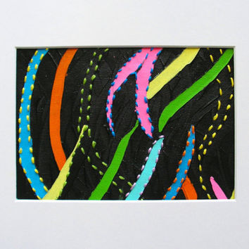 An Original Abstract Painting With Embroidery Using Bright Colours on Black Background  Carnival 1 – Ready To Ship