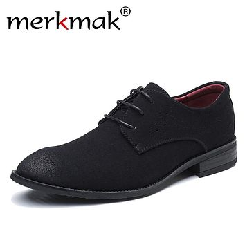 Merkmak Brand Men's Casual Suede Leather Oxford Shoes