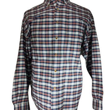 """Alexander Julian """"Colours"""" Long Sleeve Casual Shirt Red White Blue Green Madras Plaid - LARGE"""