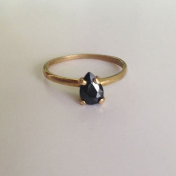 20% off- SALE!!! Onyx Ring - Black Ring - Gold Ring - Simple Teadrop Ring - Tiny Ring - Gemstone Ring - Stacking Ring