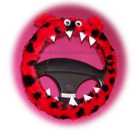 Fuzzy Monster Roar ladybird red black spot steering wheel cover faux fur fluffy furry car truck van jeep cute googly eyes teeth dragon truck suv fun van
