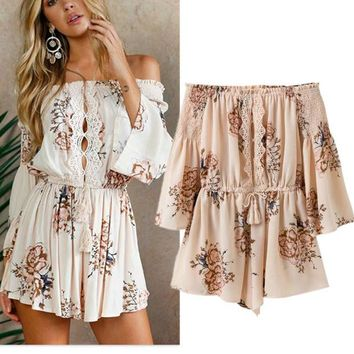 Casual Pants Summer Stylish Print Lace Patchwork Shorts Women's Fashion Jumpsuit