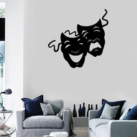 Wall Stickers Vinyl Decal Theatrical Masks Comedy and Tragedy Acting EM383