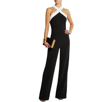 Womens Sexy Backless Jumpsuit Overalls Sleeveless Patchwork Rompers Summer Off Shoulder Jumpsuits Playsuit Bodysuit YF252