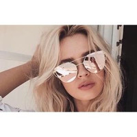 Oversized Rose Gold Mirror Cat Eye Aviator Sunglasses - Pink