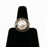 Sterling Marcasite Pearl Ring, Size 7.5, Genuine Pearl, Signed GFJ, Vintage Ring, Judith Jack Style, Ladies Ring