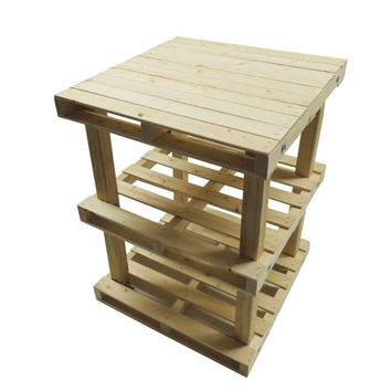 Small Pallet Style Wood End Table Night Stand Rustic Industrial Skid Design with Shelf