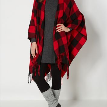 Red Buffalo Plaid Fringed Blanket Wrap