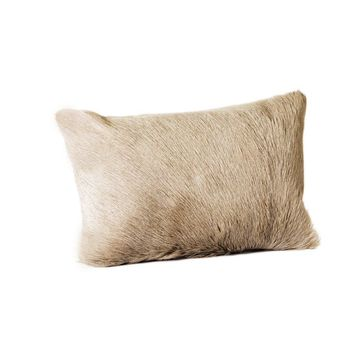 Goat Fur Pillow Bolster Light Grey