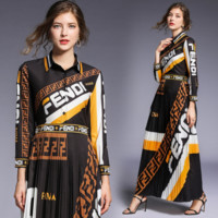 FENDI Summer Fashion Women Long Sleeve Dress