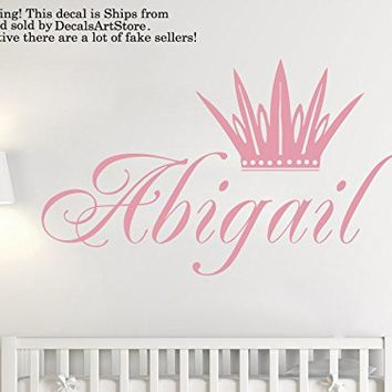 Crown Wall Decals Custom Personalized Name Princess Sticker Tiara Room Vinyl Decal Baby Kids Nursery Children's Little Girls Decor Art Mural SM184