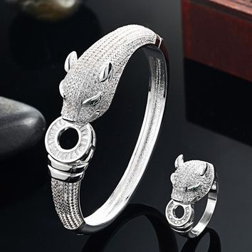 Paragon Leopard High Quality Rhinestone Bangle Bracelet for Men's by Ritzy