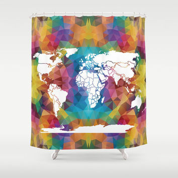 Geometric World Map Shower Curtain - Rainbow Map - Home Decor - Bathroom - blue, red, purple, yellow colorful