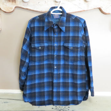 1960s Womens Medium Blue Plaid Pendleton Long Sleeve Shirt Jacket Mens XS Vintage Pendleton Shirt Wool Shirt Wool Pendleton