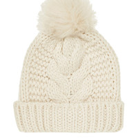 Kitted Beanie with Pom Top
